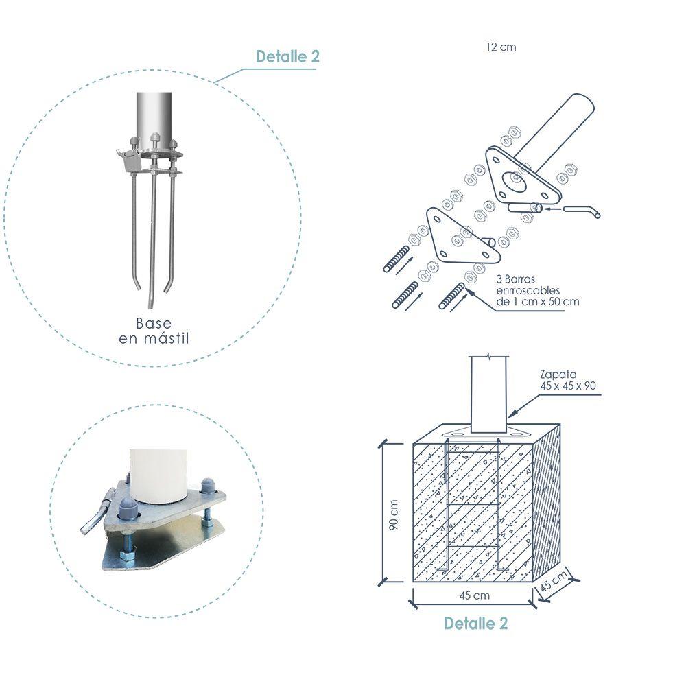 base mastil fibra de vidrio