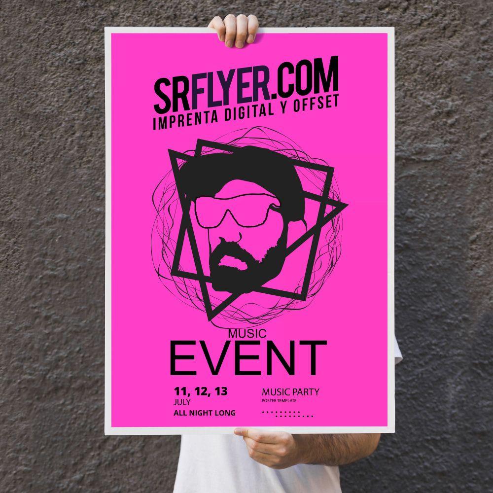 impresión carteles color rosa neón