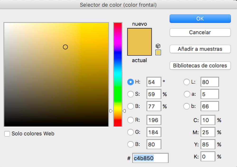 ¿ Cuál es el Color Dorado en CMYK ?